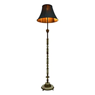 Art Deco Onyx And Brass Floor Lamp