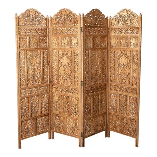 19th Century Anglo-Indian Elaborately Carved Four Panel Screen