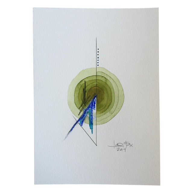Green Single Totem Painting on Paper - Image 1 of 6