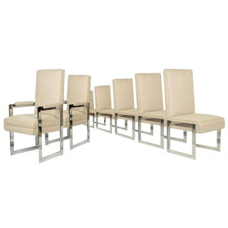 Pace Aluminum Flat Bar Dining Chairs - Set of 8