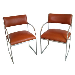 Chrome Flat-Bar Chairs in Leather Hide - A Pair