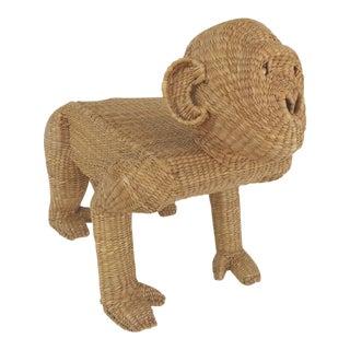 1970s Mario Lopez Torres Wicker Sculptural Gorilla Bench