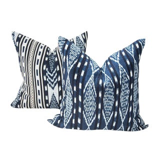 Indigo Ikat Guatemalan Pillows - Set of 2