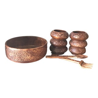 Bohemian Hand Carved Wooden Salad Serving Set- 9 Pieces