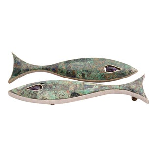 Pair of Modernist Amethyst & Azurite Fish Drawer Handle by Los Castillo