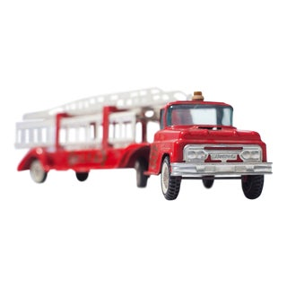 Vintage Red Hook and Ladder Toy Fire Truck Facing Front Right Photograph
