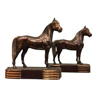 Early 20 th c. Solid Bronze and Copper Horse Bookends by Dodge Inc. c. 1930s