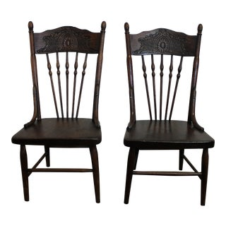 Vintage Pressed Back Children's Chairs - A Pair