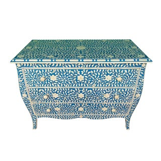 French Style Curved Bone Inlay Blue Chest
