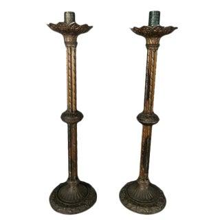 19th Century Brass Candlesticks - a Pair