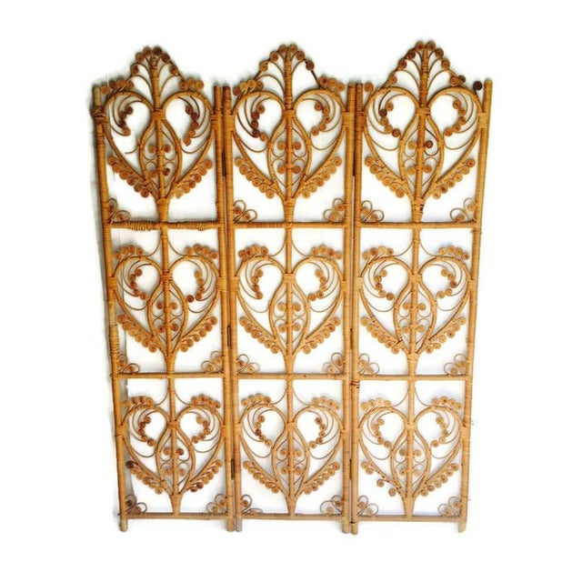 Vintage Iconic Rattan Peacock Folding Screen 1960 - Image 3 of 6