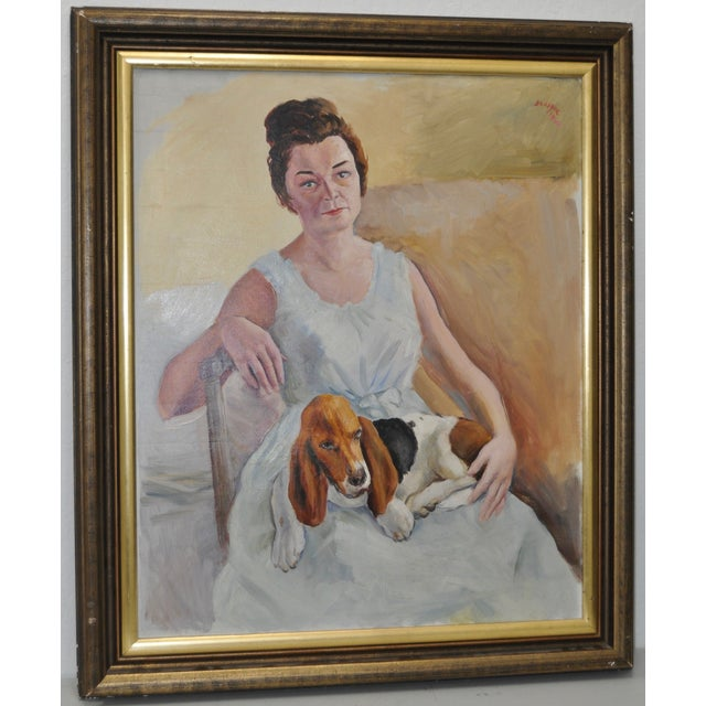 Image of Adrien Dupagne Lady With Beagle Painting