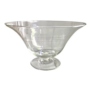 Crystal Handblown Fluted Pedestal Bowl
