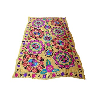 Yellow Embroidered Silk Suzani Tapestry