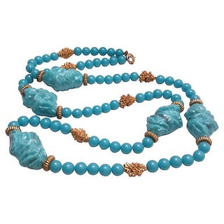 Faux Turquoise Nugget Necklace