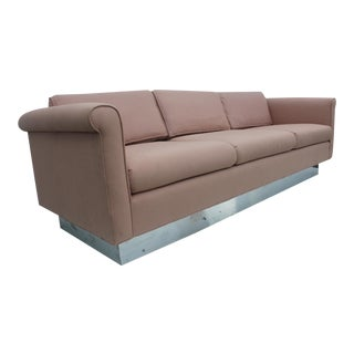 Milo Baughman Pink & Chrome Sofa