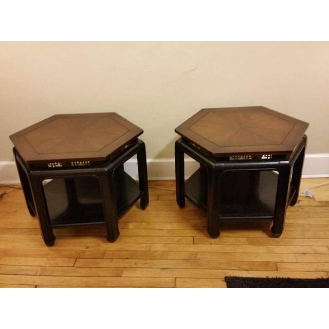 Hollywood Regency Hexagonal End Tables - a Pair - Image 4 of 8