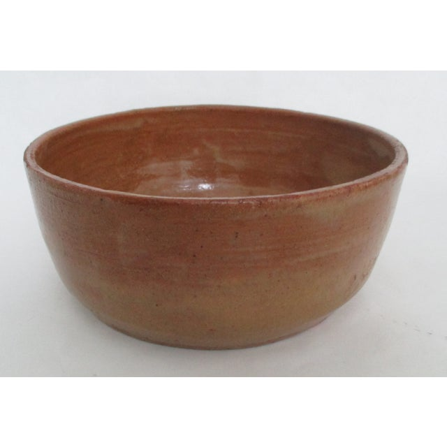 Vintage Hand Thrown Pottery Bowl Tan and Sienna - Image 2 of 5