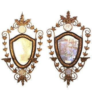 Metal Wall Candleholder Sconces with Mirror Back - A Pair