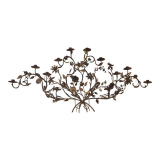 Vintage Iron French Floral 12 Candle Wall Sconce