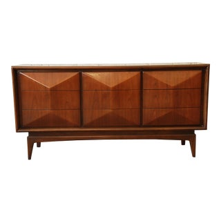 United Furniture Mid-Century Modern Diamond Front Dresser