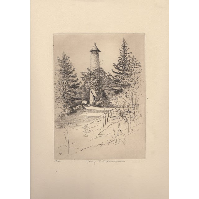 George T. Plowman The Tower Dartmouth Etching - Image 2 of 3