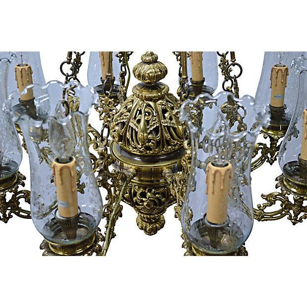 Antique Brass Chandelier 8 Lights W/Windshields - Image 7 of 7