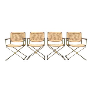 Vintage Brass & Rattan X-Form Director Chairs - 4