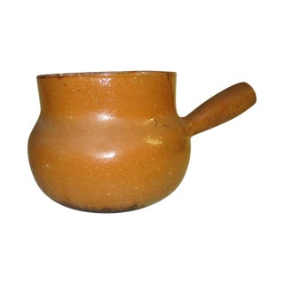 Single Handle Glazed Clay Cooking Pot