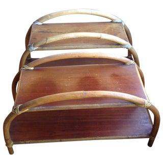 Rattan Bookshelves or Side Tables - Pair