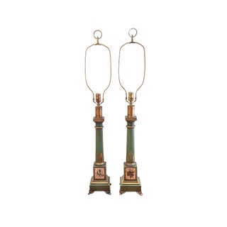Frederick Copper Neoclassical Column Lamps - A Pair