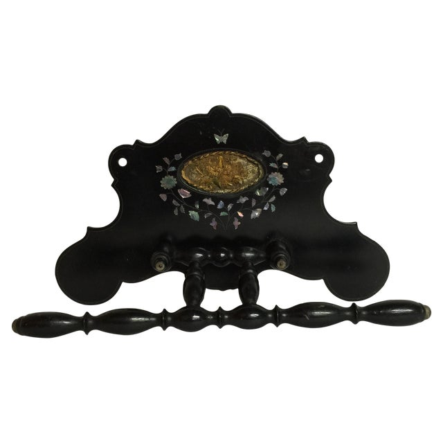 folk art wall rack mother of pearl and embroidery chairish. Black Bedroom Furniture Sets. Home Design Ideas
