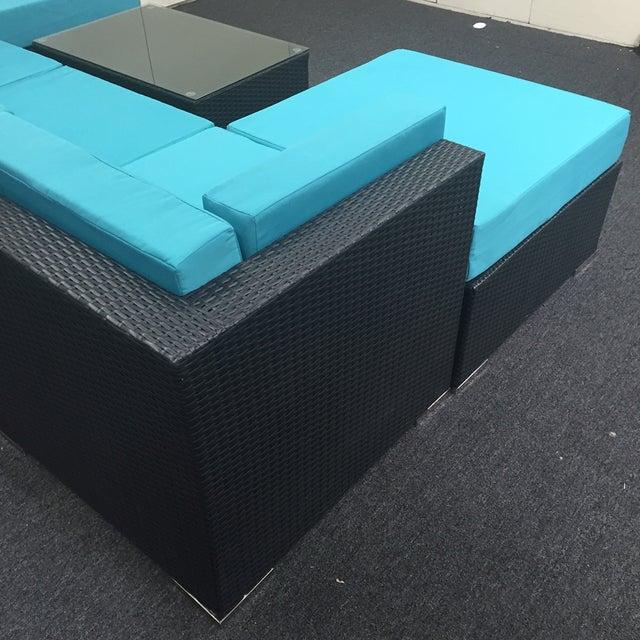 Turquoise Wicker Patio Set - Image 8 of 9