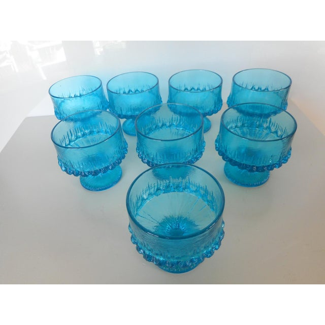 Vintage Turquoise Blue Textured Glass Sherbets - Set of 8 - Image 4 of 7