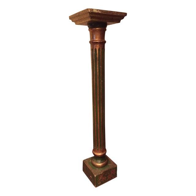 Florentine Green & Gold Italian Pedestal - Image 1 of 8