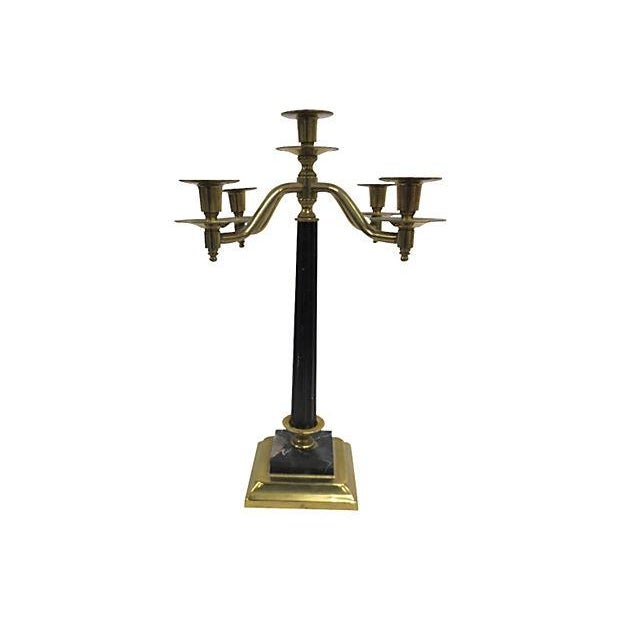 Brass and Marble Five Arm Candelabra - Image 2 of 3