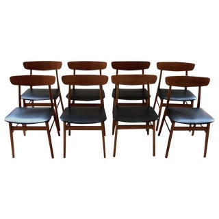 Farup Mobler Teak & Birch Dining Chairs - Set of 8