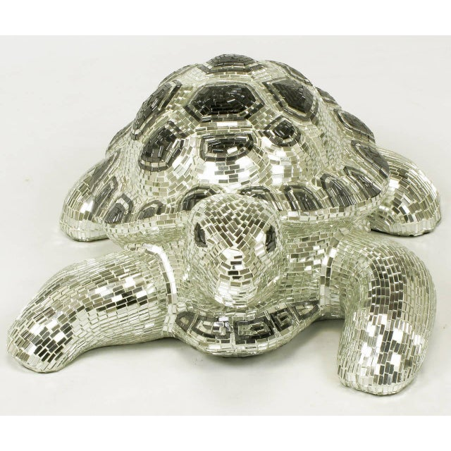 Lifesize Tortoise Sculpture Clad in Tessellated Mirror - Image 5 of 10
