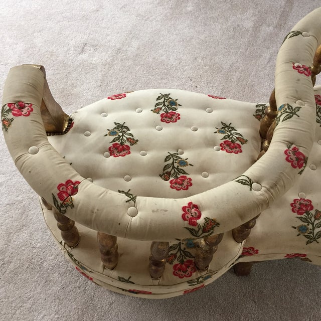 French Tete a Tete Gilded Wood Tufted Sofa - Image 2 of 10