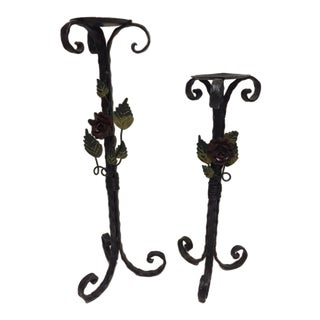 Vintage Wrought Iron Candlesticks - A Pair