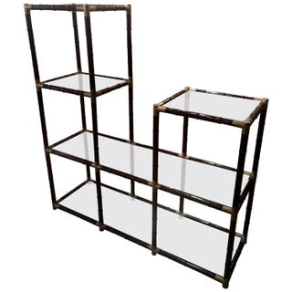 Mid-Century Faux Bamboo & Glass Etagere