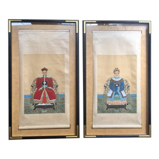 Framed Chinese Ancestral Scroll Portraits - A Pair