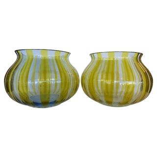 Oggetti Green Glass Vases - a Pair