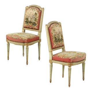 19th Century French Louis XVI Style Needlepoint Upholstered Side Chairs - a Pair