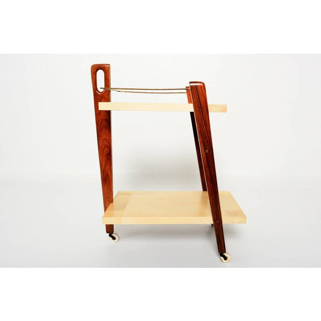 Mexican Modernist Goat Skin Service Cart - Image 3 of 10