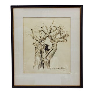 Black & Gold Framed Tree Sketching