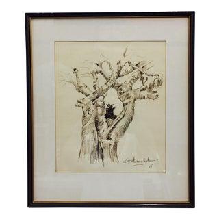 Black & Gold Framed Tree Sketching