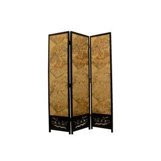 Japanese Byobu Folding Screen With Silk Panels
