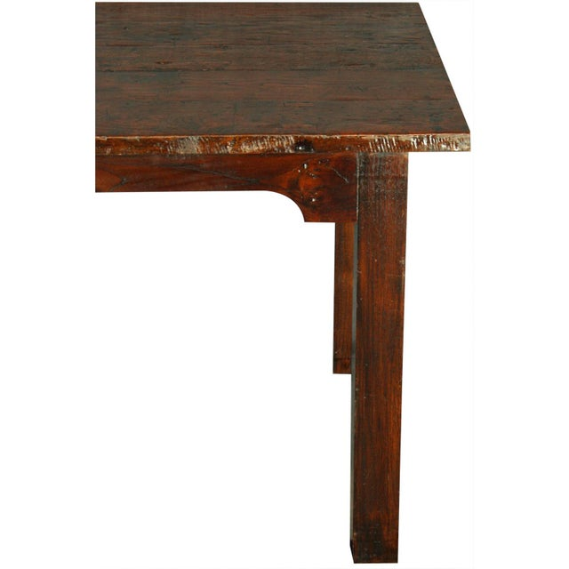 Solid Oak with Teak Country Style Dining Table - Image 3 of 8