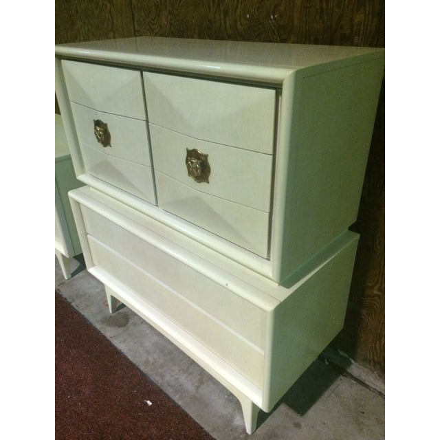 Image of Diamond Sculpted Highboy Dresser